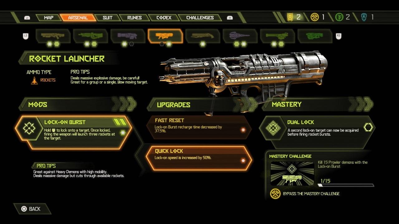 Doom Eternal rocket launcher weapon mods